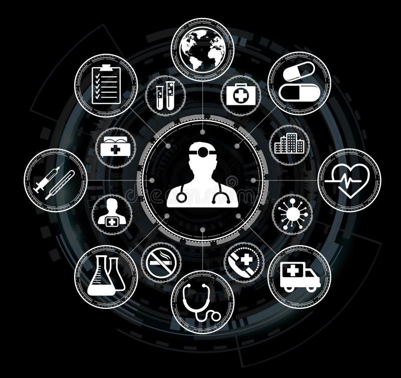Relação médica moderna com rendição dos ícones 3D ilustração royalty free