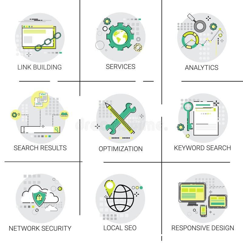 Relação que constrói o grupo do ícone dos serviços de Seo Keywording Search Network Security ilustração royalty free