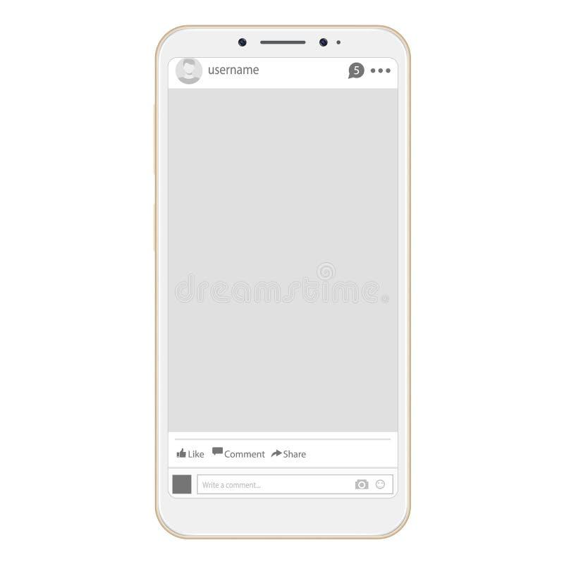 Relação social da Web do perfil da página Quadro social da interface de rede com ícone liso Quadro social da foto da rede no smar ilustração royalty free