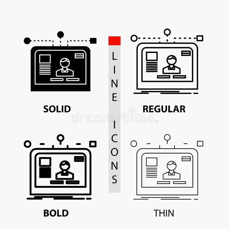 relação, Web site, usuário, disposição, ícone do projeto na linha e no estilo finos, regulares, corajosos do Glyph Ilustra??o do  ilustração do vetor