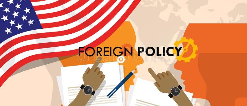 Relações internacionais da diplomacia da política externa de América E.U. entre o país no mundo ilustração stock