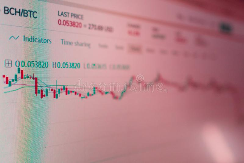 Rela??o da aplica??o para a troca do cryptocurrency de Bitcoin Foto do tela de computador volatilidade dos cryptocurrencies fotos de stock