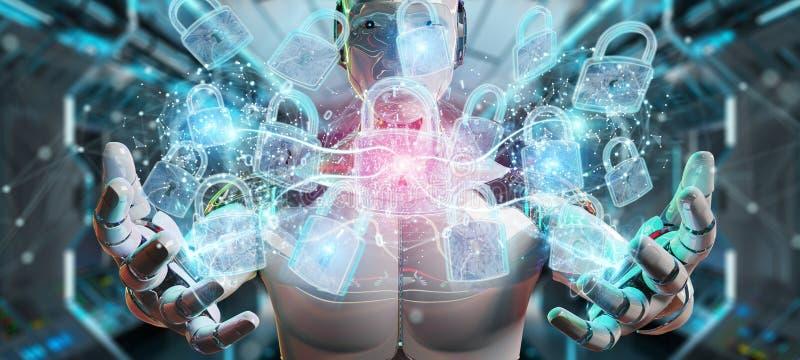 Rela??o da prote??o de seguran?a da Web usada pela rendi??o do rob? 3D ilustração royalty free
