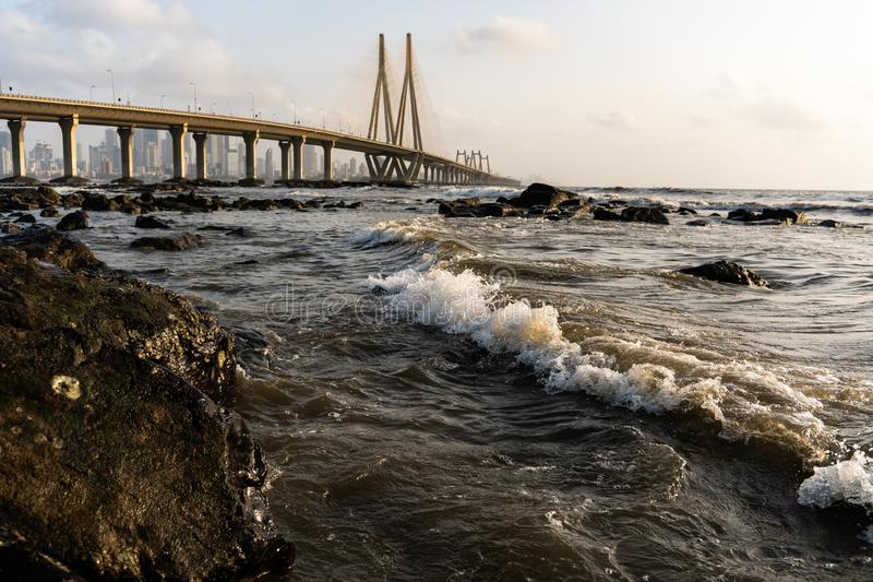 Rela??o do mar de Bandra - de Worli imagem de stock royalty free