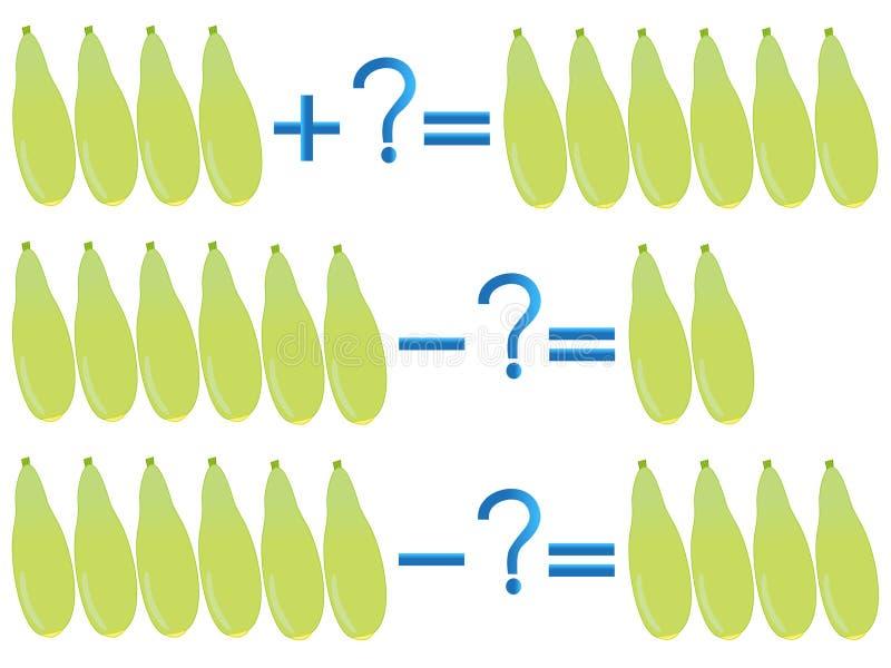 Relación de la acción de la adición y de la substracción, ejemplos con el calabacín ilustración del vector