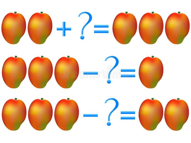 Relación de la acción de la adición y de la substracción, ejemplos con el mango Juego educativo para los niños ilustración del vector