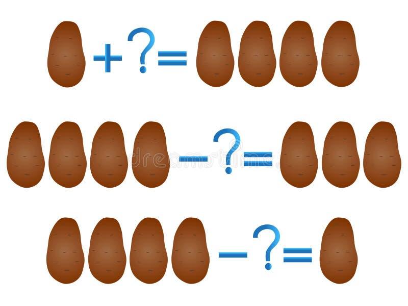 Relación de la acción de la adición y de la substracción, ejemplos con la patata ilustración del vector