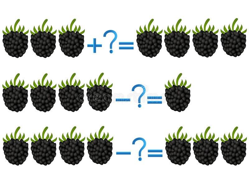 Relación de la acción de la adición y de la substracción, ejemplos con la zarzamora libre illustration