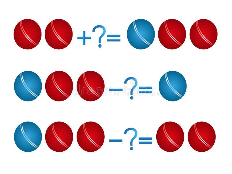 Relación de la acción de la adición y de la substracción, ejemplos con las bolas ilustración del vector