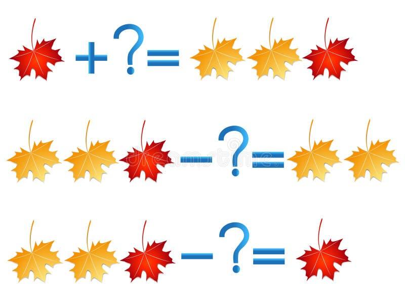 Relación de la acción de la adición y de la substracción, ejemplos con las hojas ilustración del vector