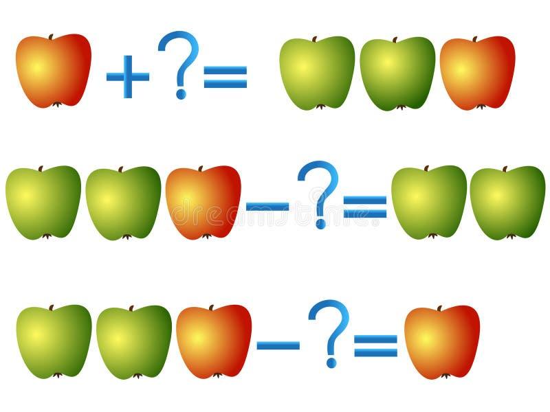 Relación de la acción de la adición y de la substracción, ejemplos con las manzanas ilustración del vector