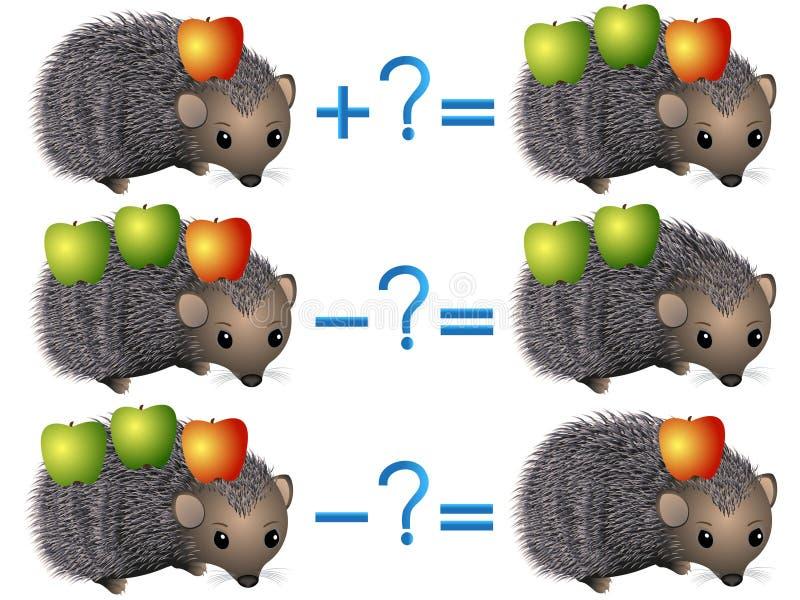 Relación de la acción de la adición y de la substracción, ejemplos con las manzanas en un erizo ilustración del vector