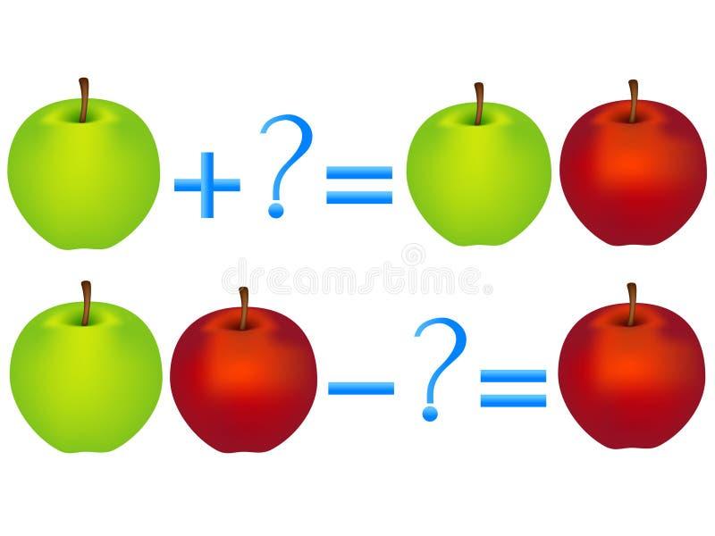 Relación de la acción de la adición y de la substracción, ejemplos con las manzanas Juegos educativos para los niños stock de ilustración