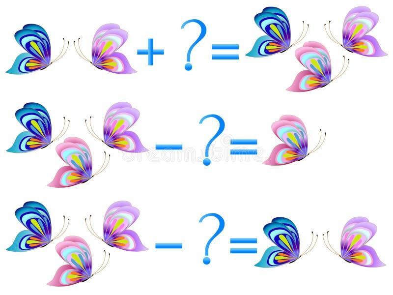 Relación de la acción de la adición y de la substracción, ejemplos con las mariposas Juegos educativos para los niños stock de ilustración