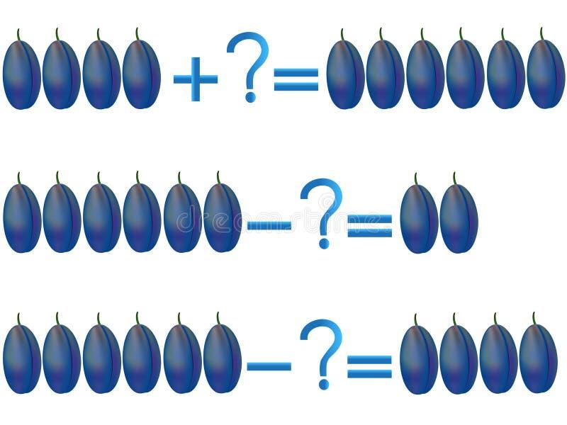 Relación de la acción de la adición y de la substracción, ejemplos con los ciruelos ilustración del vector