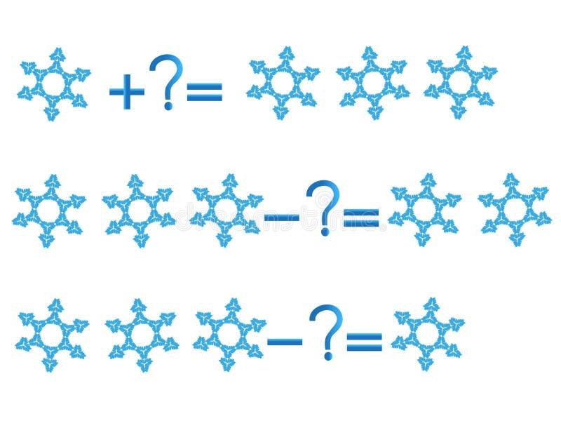 Relación de la acción de la adición y de la substracción, ejemplos con los copos de nieve libre illustration