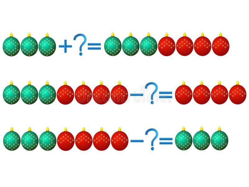Relación de la acción de la adición y de la substracción, ejemplos con los juguetes stock de ilustración