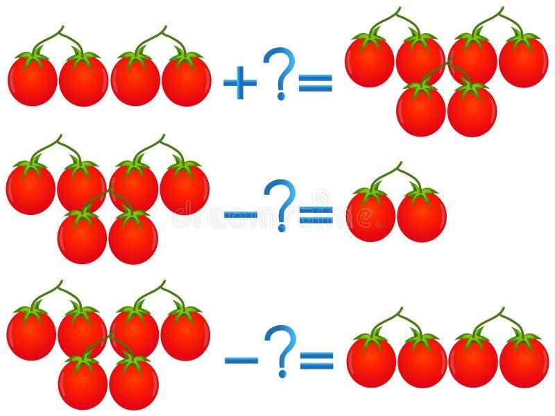 Relación de la acción de la adición y de la substracción, ejemplos con los tomates ilustración del vector