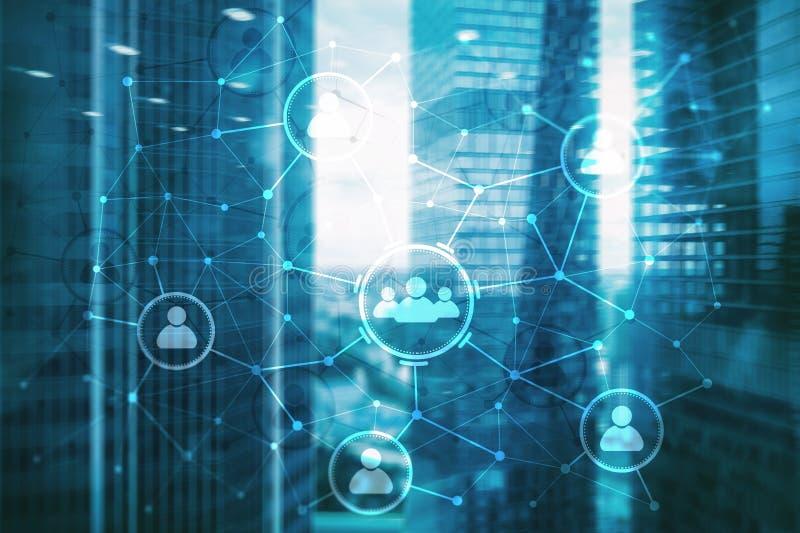 Relación de la gente y estructura de organización Media sociales Concepto de la tecnología del negocio y de comunicación stock de ilustración