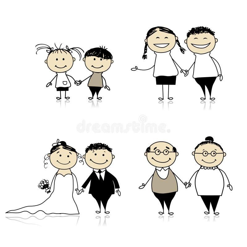 Relacionamento-crianças da família, adultos, séniores ilustração royalty free