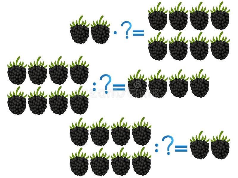 Relacionamento da ação da divisão e da multiplicação, exemplos com amora-preta ilustração do vetor
