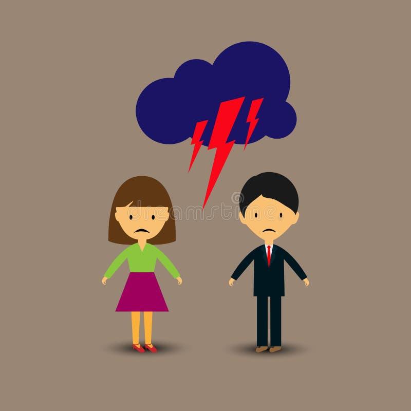 Relacionamento mau, uma discussão entre um homem e uma mulher ilustração royalty free
