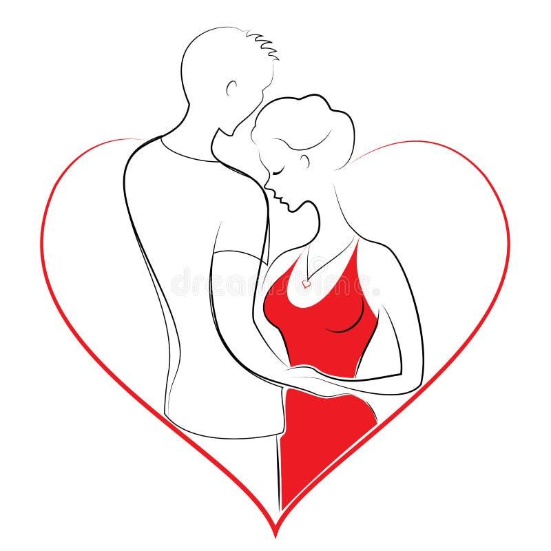Relacionamento romântico de um par no amor Um homem novo está abraçando uma senhora doce A menina e o indivíduo estão felizes Qua ilustração stock