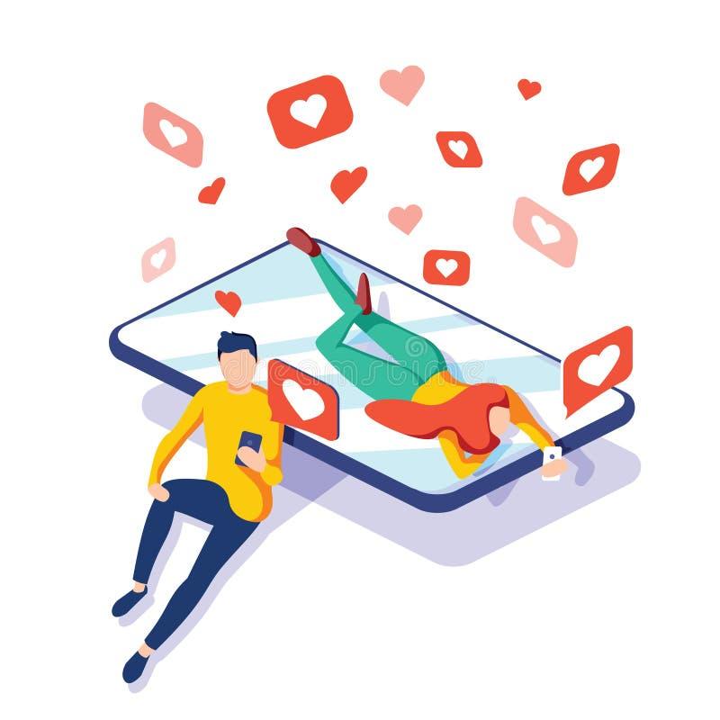 Relacionamentos virtuais, em linha datar e conceito social dos trabalhos em rede, adolescentes que conversam no Internet, vetor i ilustração stock