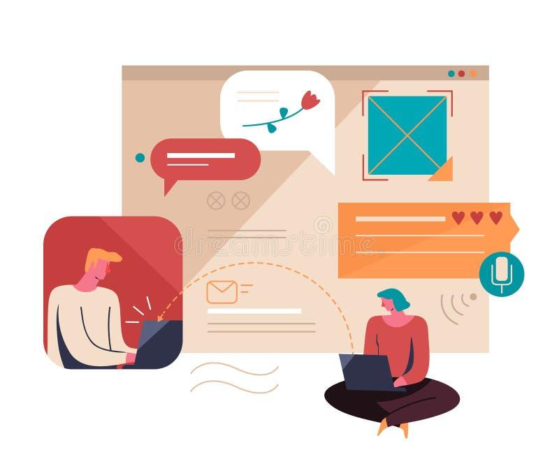 Relacionamentos virtuais Ilustração do vetor ilustração stock