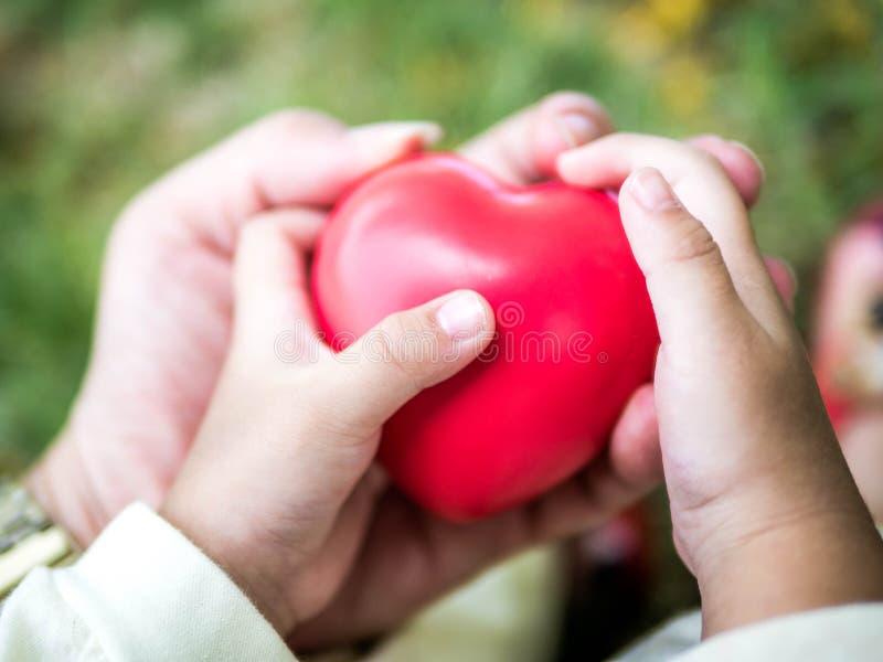 Relaciones, adulto y niño de familia felices llevando a cabo el corazón rojo, atención sanitaria, concepto pediátrico de la cardi fotografía de archivo