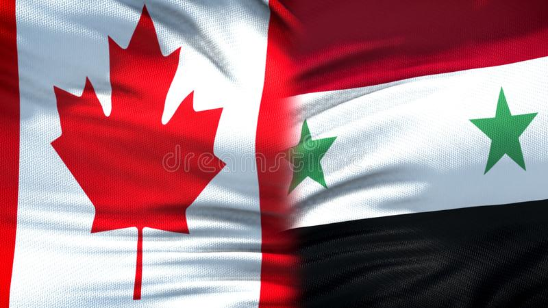 Relaciones del fondo de las banderas de Canadá y de Siria, diplomáticas y económicas, seguridad fotos de archivo