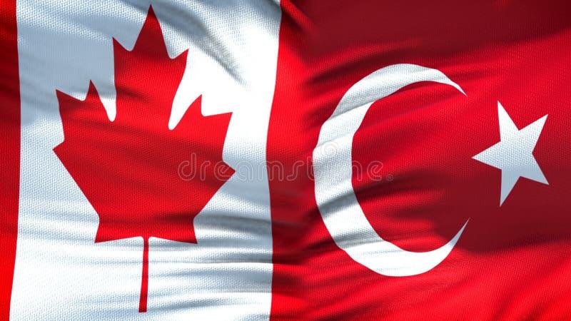 Relaciones del fondo de las banderas de Canadá y de Turquía, diplomáticas y económicas, comercio fotografía de archivo libre de regalías