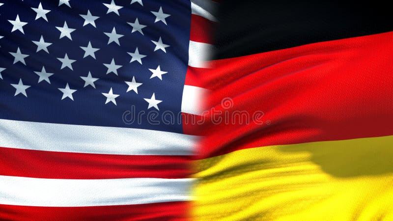 Relaciones del fondo de las banderas de Estados Unidos y de Alemania, diplomáticas y económicas fotografía de archivo