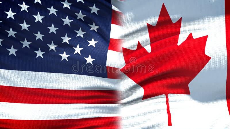 Relaciones del fondo de las banderas de Estados Unidos y de Canadá, diplomáticas y económicas imagen de archivo libre de regalías