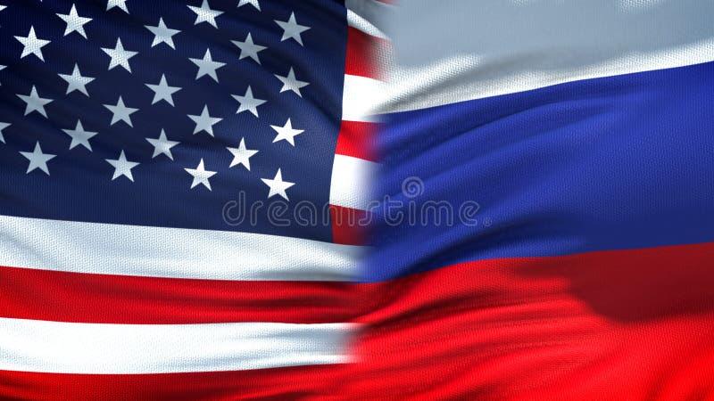Relaciones del fondo de las banderas de Estados Unidos y de Rusia, diplomáticas y económicas imagen de archivo