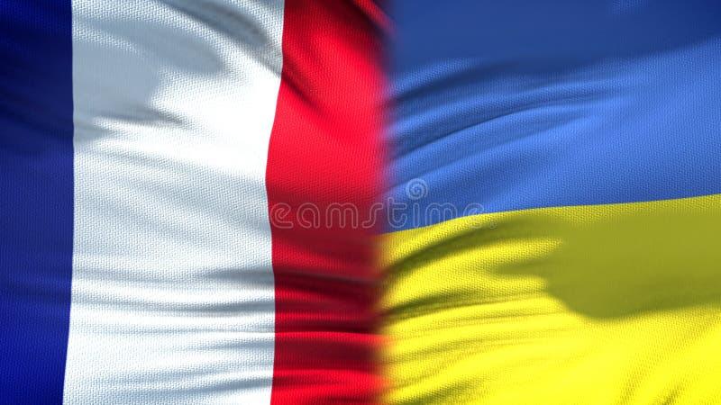 Relaciones del fondo de las banderas de Francia y de Ucrania, diplomáticas y económicas fotos de archivo