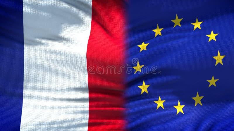 Relaciones del fondo de las banderas de Francia y de unión europea, diplomáticas y económicas foto de archivo libre de regalías