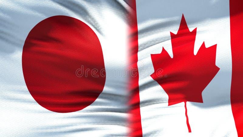 Relaciones del fondo de las banderas de Japón y de Canadá, diplomáticas y económicas, comercio imagen de archivo