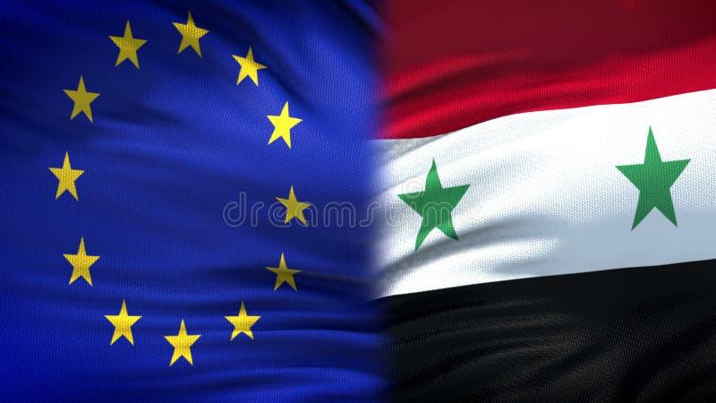 Relaciones del fondo de las banderas de la unión europea y de Siria, diplomáticas y económicas imagenes de archivo