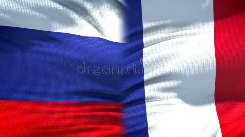 Relaciones del fondo de las banderas de Rusia y de Francia, diplomáticas y económicas, finanzas imagenes de archivo