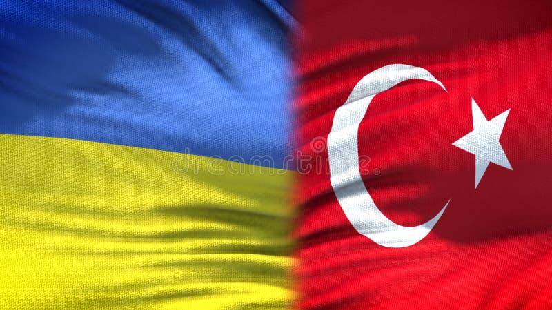 Relaciones del fondo de las banderas de Ucrania y de Turquía, diplomáticas y económicas imagenes de archivo