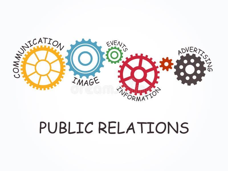Relaciones públicas con concepto del engranaje Ilustración del vector ilustración del vector