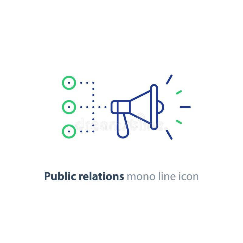 Relaciones públicas concepto, línea icono del megáfono, haciendo publicidad de estrategia de la promoción libre illustration
