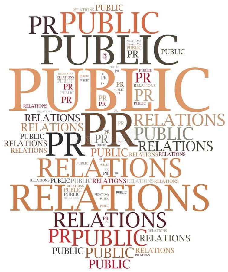 Relaciones públicas Ejemplo de la nube de la palabra ilustración del vector