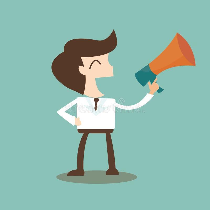 Relaciones públicas - hombre de negocios que habla con un megáfono stock de ilustración