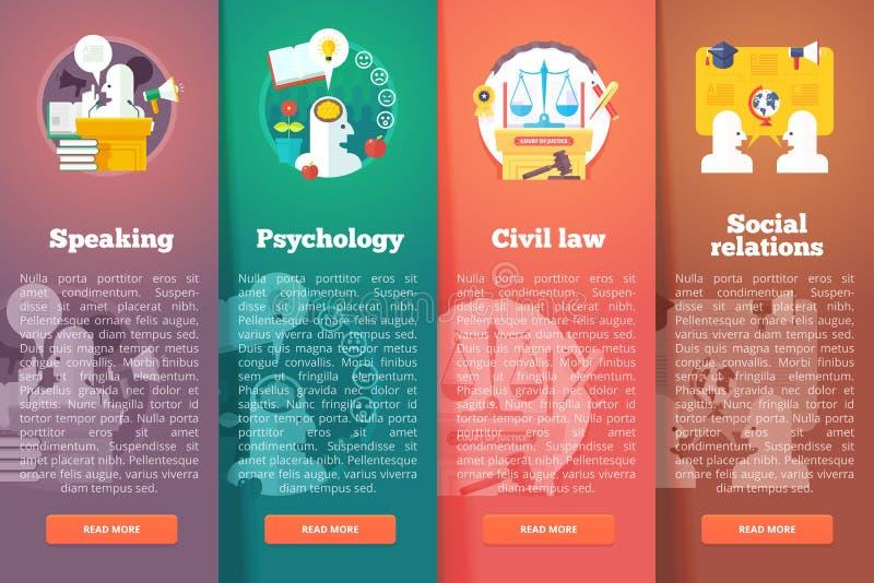 Relaciones sociales, civiles y públicas El derecho civil justicia Habilidad de discurso del oratorio Disposición de la vertical d stock de ilustración