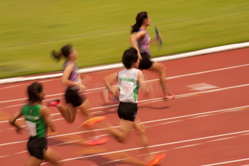 Relais in het Open Atletische Kampioenschap 2013 van Thailand. stock foto's