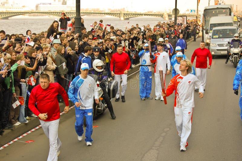 Relais olympique Plushenko de torche images stock