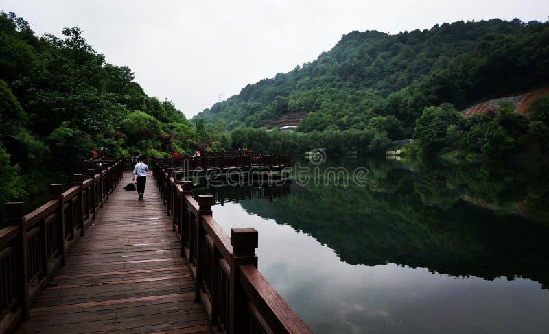 Relajación al lado del lago por la ladera en Changsha China foto de archivo libre de regalías