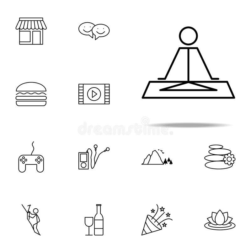 relajación en icono de la yoga sistema universal de los iconos de la relajación para la web y el móvil stock de ilustración